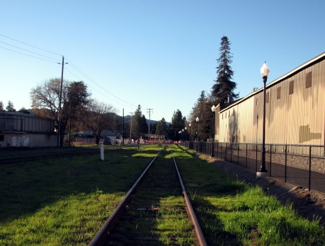 Railroad, Healdsburg, looking north towards the new roundabout