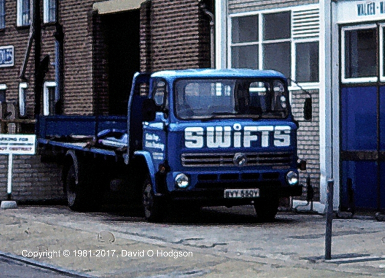 Swifts of Scarborough vehicle parked at Richmond warehouse, 1981