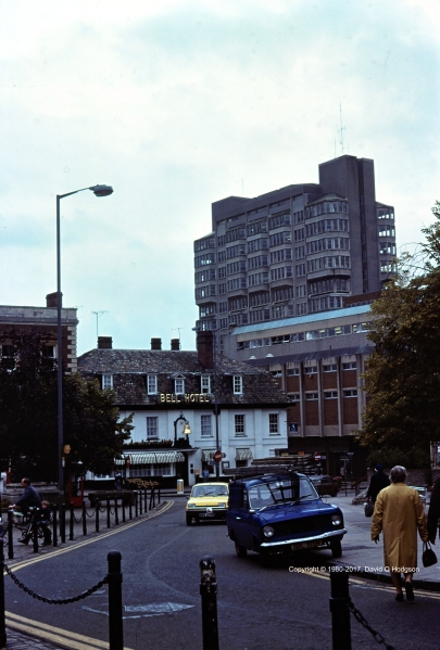 The Bell Hotel, Aylesbury, with the Buckinghamshire County Offices beyond, in 1980