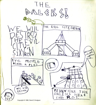 Part of a Daleks Adventure, drawn when I was 8 years old