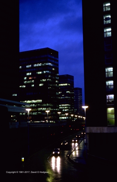 London Wall in the Rain, 1981