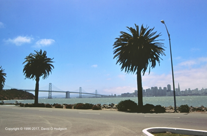 View of Bay Bridge and San Francisco from Treasure Island