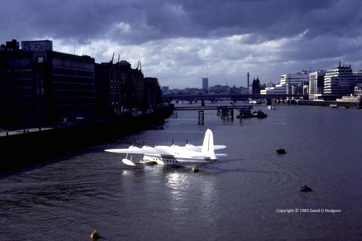 Short Sunderland from Tower  Bridge, London, 1983