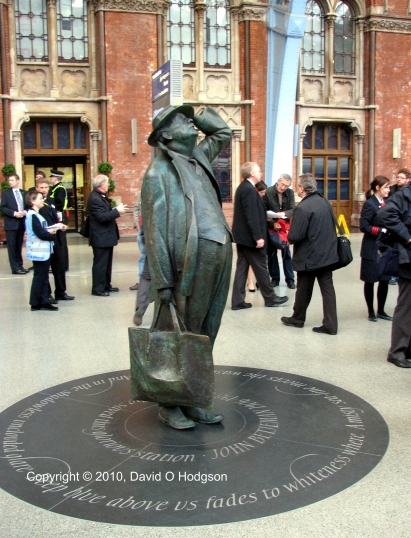Statue of Sir John Betjeman at St. Pancras International Station