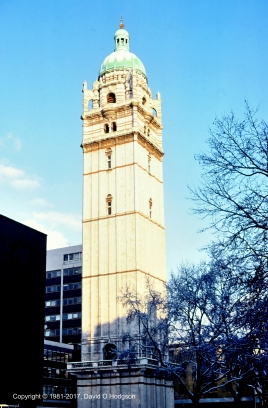 Queens Tower, Imperial College, in snow, 1981