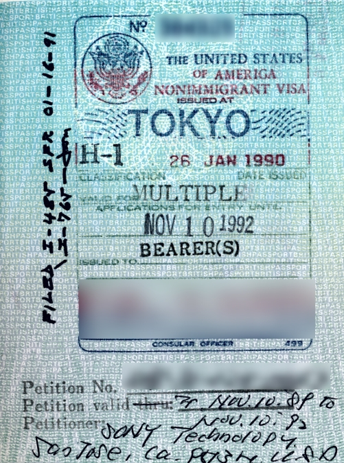 H1 Visa Passport Stamp