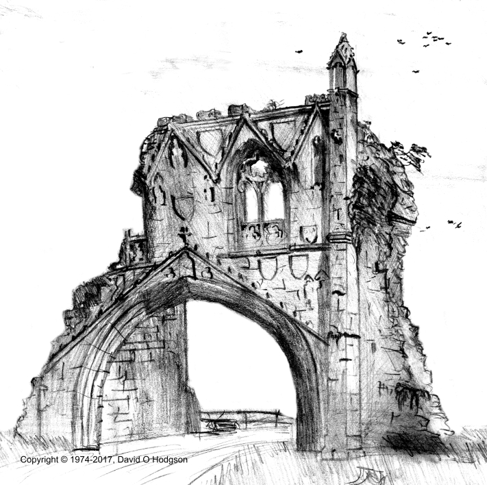 My Pencil Drawing of Kirkham Priory, 1974-75