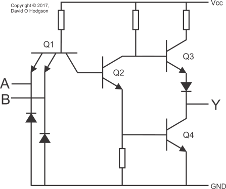 Circuit Diagram of Texas Instruments 7400 NAND Gate