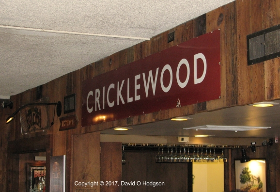 BR Station Sign at Cricklewood Restaurant