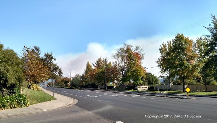 Smoke from the Oakmont Fire, from Highway 12