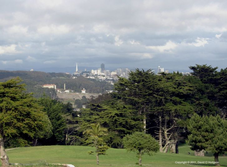 Unusual view of Downtown San Francisco, from the Legion of Honor