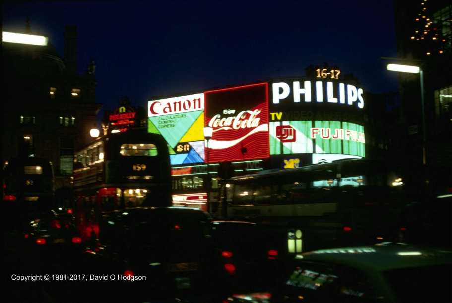 Traffic in Piccadilly, London, Christmas 1981