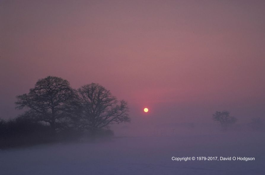 Sunset through Freezing Fog, Coventry, 1979