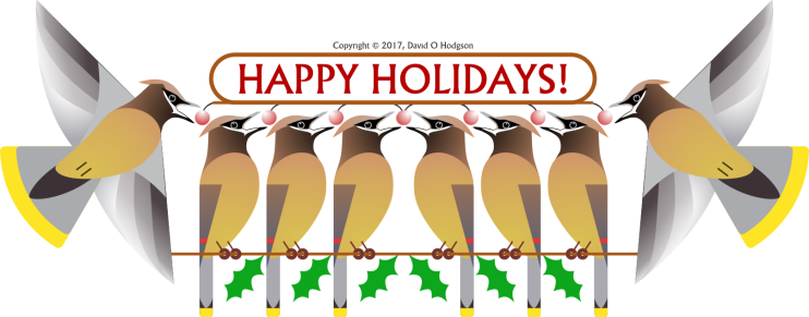 Waxwings with Happy Holidays Message