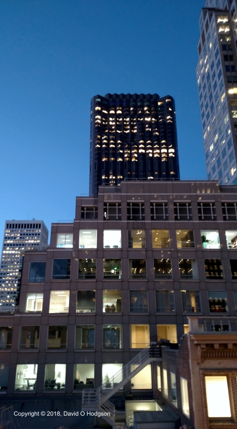 View of the Bank of America Building at Twilight