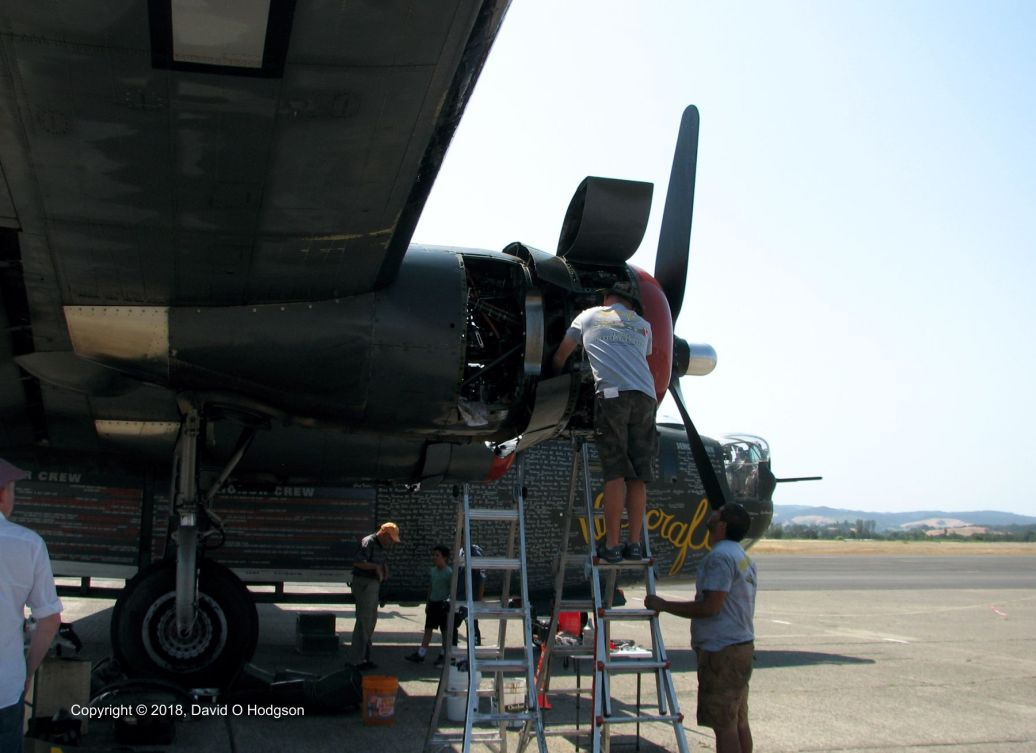 Working on the B-24's Engine