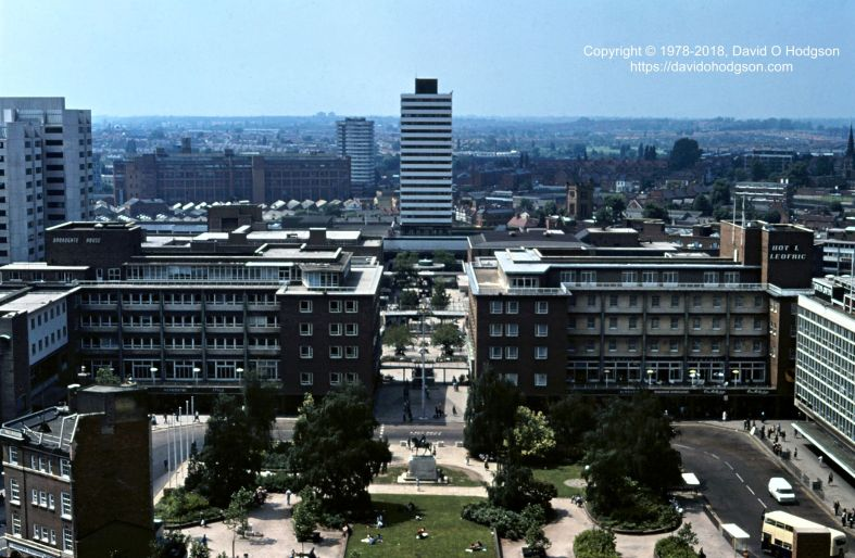 Broadgate Square, Coventry, from the Cathedral Tower