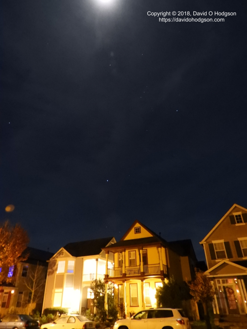 The Moon and Orion over our House
